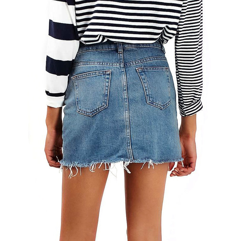 Grunge Style High Waist A-line Mini Skirts / Denim Black Alternative Jeans Skirt with Pockets