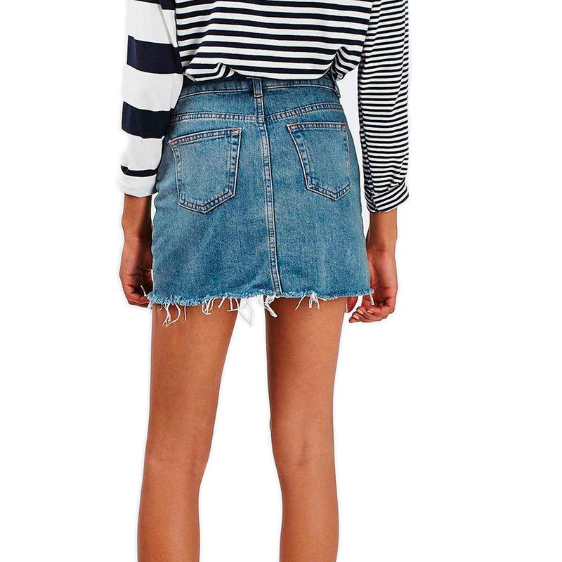 Grunge Style High Waist A-line Mini Skirts / Denim Blue Alternative Jeans Skirt with Pockets - HARD'N'HEAVY