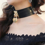 Heart Choker Locket Necklace / Oversized Collar Choker Necklace for Women in Gothic Style - HARD'N'HEAVY