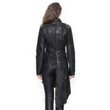 Heavy Metal Asymmetrical Faux Leather Jackets For Rock Women / Steampunk Long Coat with Buckles - HARD'N'HEAVY