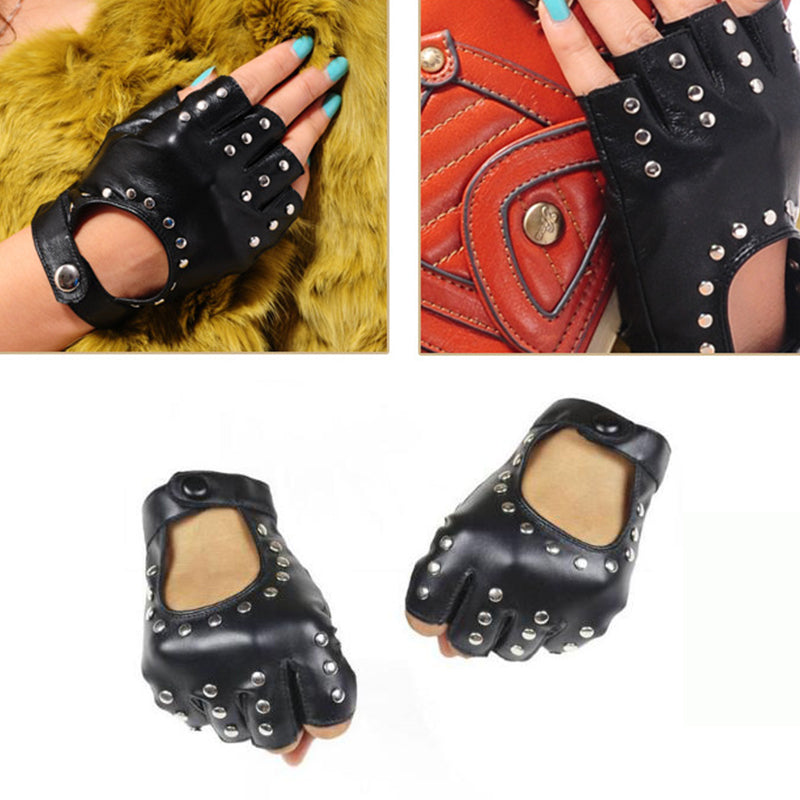 Heavy metal PU Leather Gloves with Rivets / Semi-Finger Cutout Fingerless Gloves in rock style - HARD'N'HEAVY