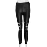 High Elasticity Women PU Leather Stretch Pants / Skinny Zipper Knee Leggings - HARD'N'HEAVY