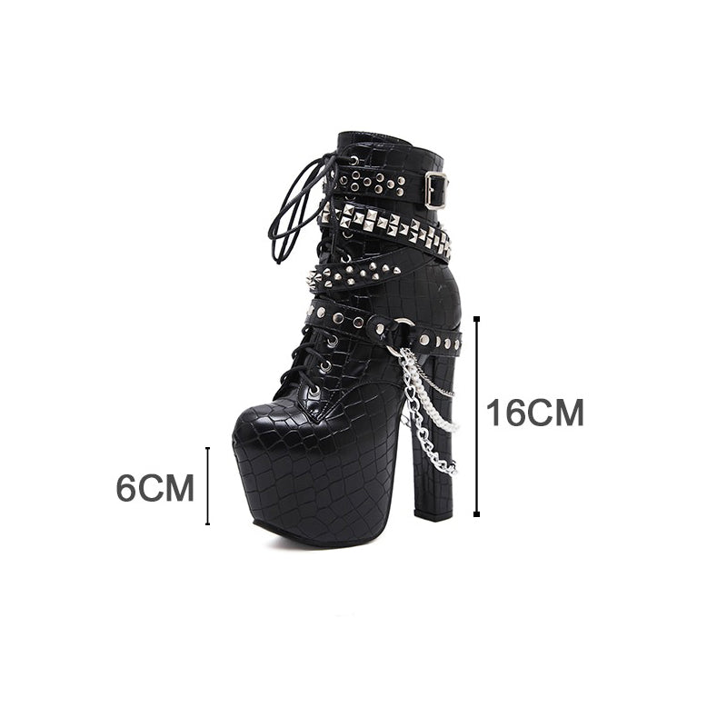 High Heels Chains Rivets Shoes / Women Ankle Platform Boots / Patent Leather Boots with Zipping - HARD'N'HEAVY