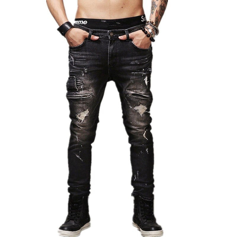 High Quality Men's Ripped Biker Jeans / Vintage Black Slim Fit Motorcycle Pants in Rock Style - HARD'N'HEAVY