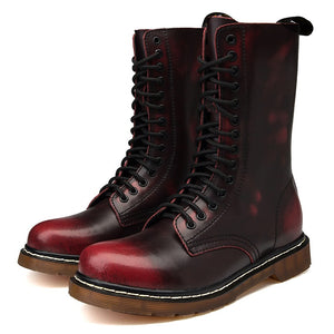 High Top Combat Boots For Men / Genuine Leather Motorcycle Martins Boots / Military Work Shoes