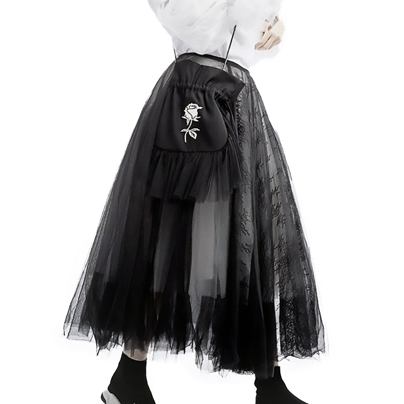 High Waist Black 5 Layers Mesh Temperament Half-body Skirt / Women Gothic Fashion Clothes - HARD'N'HEAVY