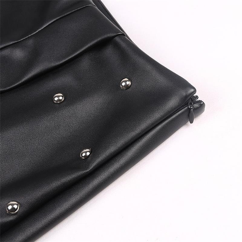 High Waist Rock Style PU Leather Skirt / Punk Faux Rivet decor / Women Pencil Skirt - HARD'N'HEAVY