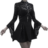 High Waist Women Stylish Bandage / Zipper A-Line Pleated Bodycon Dress in Gothic Style - HARD'N'HEAVY