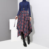 High Waisted Plaid Split Joint Skirt / Loose Big Hem Half-body Skirt for Women in Grunge Style - HARD'N'HEAVY