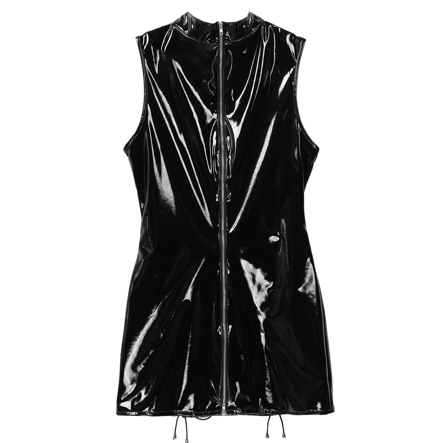 Hollow Out Lace-Up Latex Bodycon Mini Dress for Women / Gothic Fashion Wetlook Bodysuit - HARD'N'HEAVY