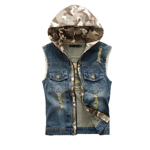 Hooded Denim Camouflage Patch Design Vest / Male Slim Hole Ripped Tank Top Hoodies