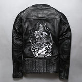 Hooded Genuine Leather Men's Rock Style / Biker Jacket with Skull - HARD'N'HEAVY
