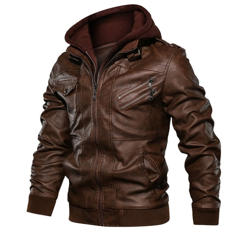 Hooded Leather Jackets / Men Casual Coat / Motorcycle Jackets - HARD'N'HEAVY