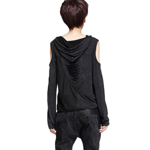 Hooded T-shirt Strapless / Loose Long Sleeve Top for Women / Denim Splice Chiffon Tops