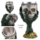 Horrible Green Devil Hand Wine Glass with Stainless Steel and Resin / Vintage Style Bar Drinkware