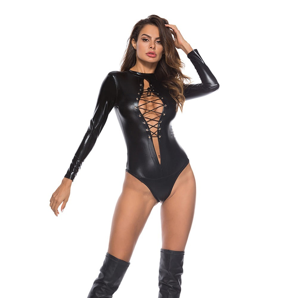 Hot Erotic Women's Bodysuit / Sexy PU Leather Babydoll Mini Dress / Female Black Jumpsuit - HARD'N'HEAVY