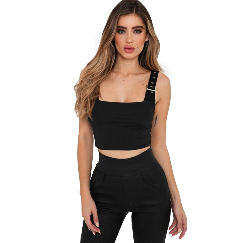 Hot & Sexy Backless Tank Top With Buckles / Gothic Style Outfit for Women - HARD'N'HEAVY