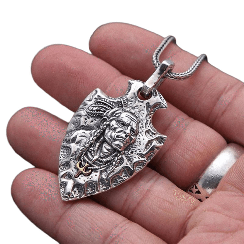 Indian Chief Pendant / Real 925 Sterling Silver Jewelry / Unisex Ethnic Feather Eagle Necklace - HARD'N'HEAVY