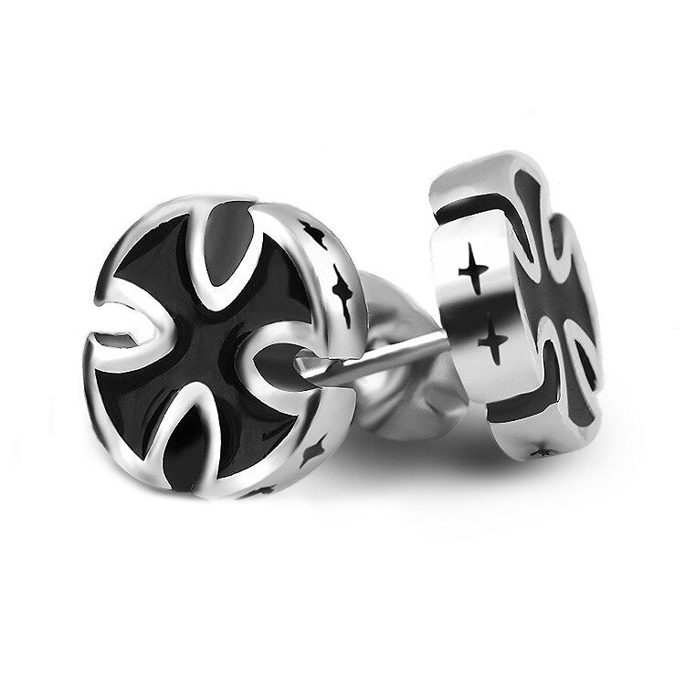 Iron Cross Earrings Black Color Jewelry Stud / Heavy Metal Fashion - HARD'N'HEAVY