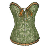 Lace-Up Gothic Corset / Floral Plus Size Corset For Women With Thong Outfit Waist - HARD'N'HEAVY