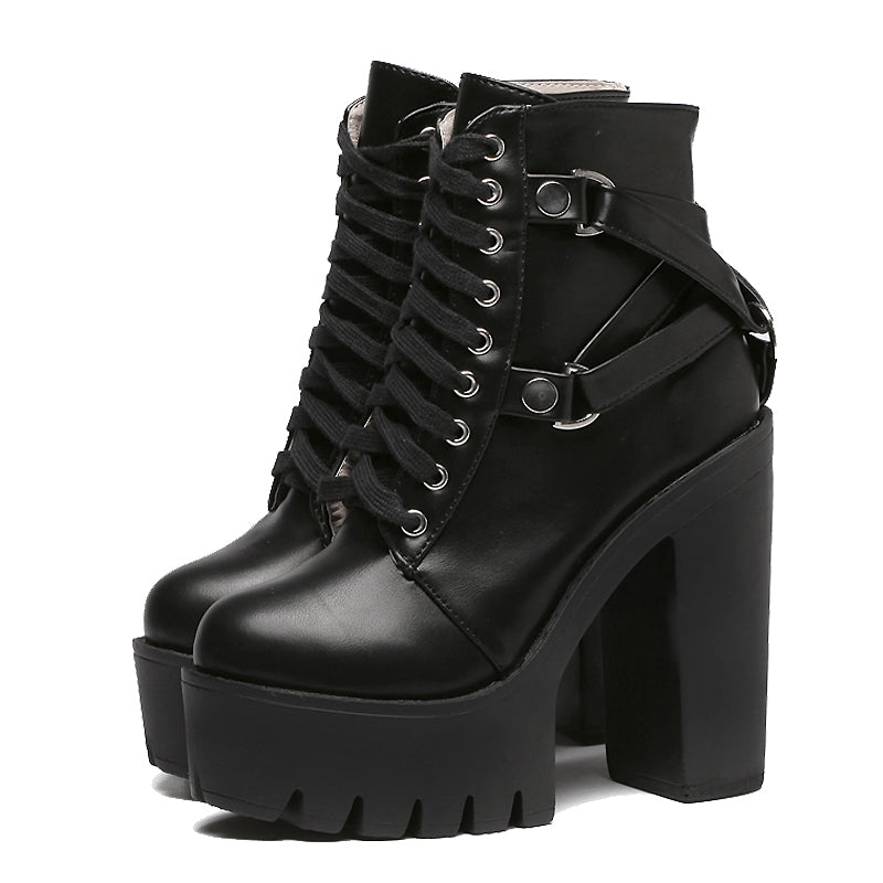 Lace-up Soft PU Leather Platform Boots for Women / Rave Outfits Shoes - HARD'N'HEAVY