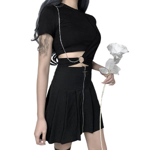 Ladies Gothic Style Black Crop Top / Cool T-shirt with Decoration Chain
