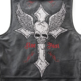 Leather biker vest / Rock Style Skull Cross Leather men's vest - HARD'N'HEAVY