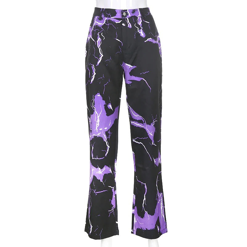 Lightning Print Streetwear Cargo Pants for Women / Ladies Joggers Trousers with High Waist - HARD'N'HEAVY