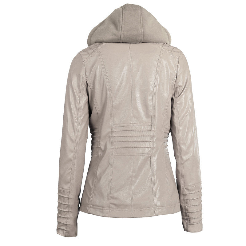 Long-sleeved Zipper Leather Jacket / Women Hooded Pockets PU Jacket - HARD'N'HEAVY