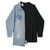 Loose Fit Denim Split Bandage Sweatshirt / Round Neck Long Sleeve Women's Top / Grunge Style Outfit - HARD'N'HEAVY