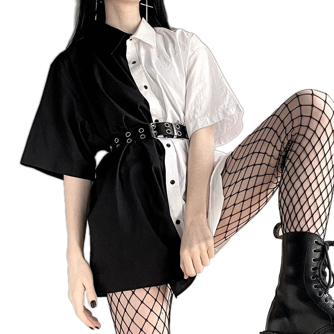 Loose Gothic Dress / Alternative Fashion Goth Women Dress with Turn-Down Collar / 90s Party Clothes - HARD'N'HEAVY