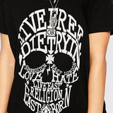 Loose T-shirt with Skull / Printed Rock t shirts with Short Sleeve / Women Cotton Black Graphic Tees - HARD'N'HEAVY