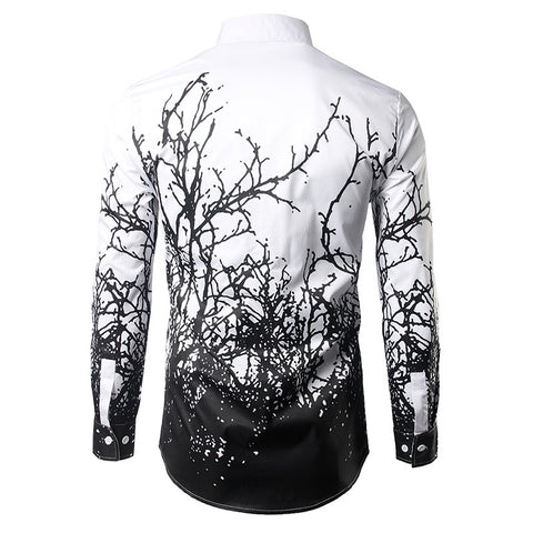 Luxury Shirt for Men in Gothic Style / Branches Ink Printing Men's Shirts / Male Aesthetic Outfits - HARD'N'HEAVY