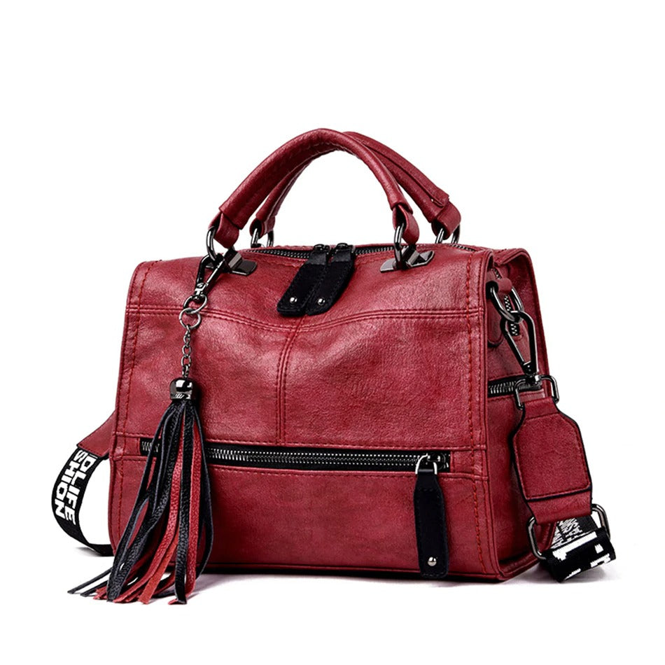 Luxury Wide Shoulder Strap Retro Women Handbags / High Quality Leather Ladies Shoulder Bags - HARD'N'HEAVY