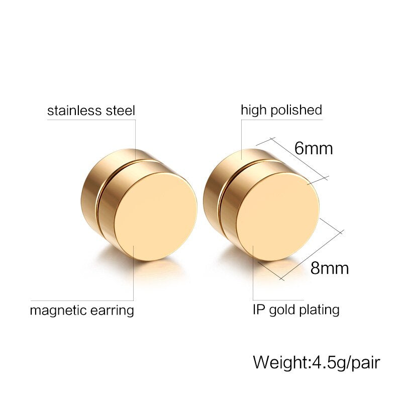 Magnetic Stud Earrings For Men And Women / Stainless Steel Jewelry - HARD'N'HEAVY