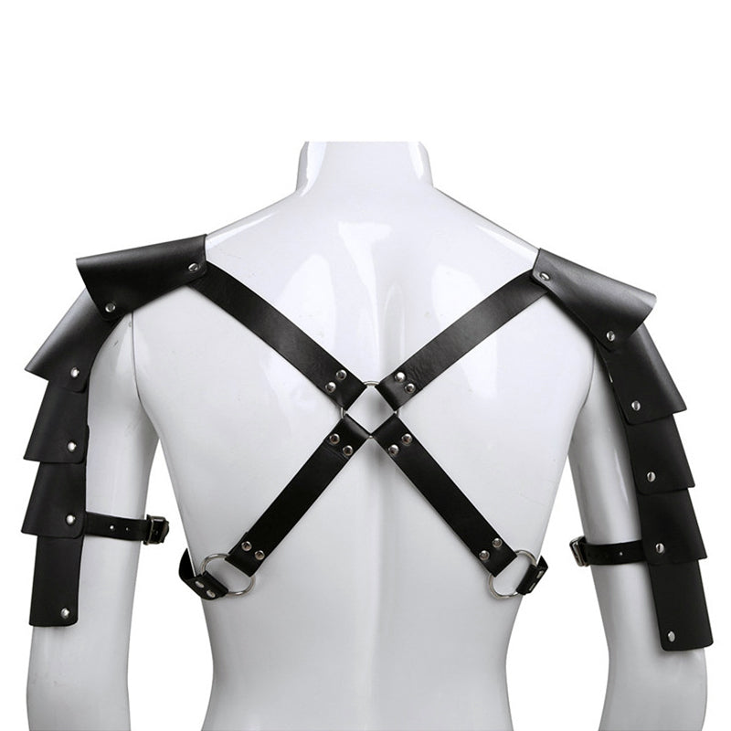 Medieval Costume Armor / Gothic Cosplay Accessories / Knights Shoulder PU Leather Body Harness - HARD'N'HEAVY