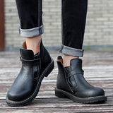 Men Black Genuine Leather Boots / Rocker Shoes / Aesthetic Outfits - HARD'N'HEAVY