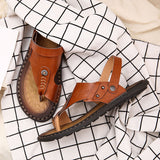 Men Genuine Leather Sandals / Rock Style Slippers / vintage clothing - HARD'N'HEAVY