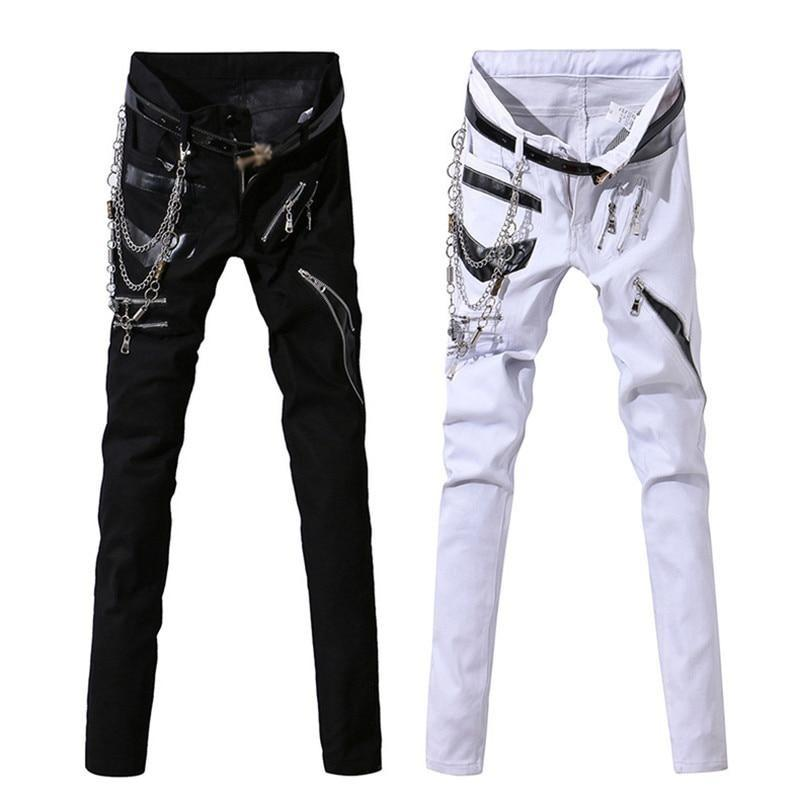 Men Rock Jeans With Chain Patchwork / Punk Gothic Stage Performance / Aesthetic Clothing