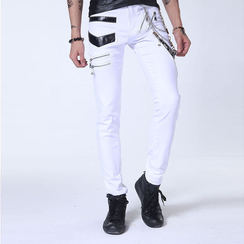 Men Rock Jeans With Chain Patchwork / Punk Gothic Stage Performance / Aesthetic Clothing - HARD'N'HEAVY