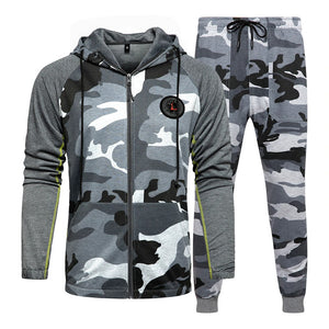 Men Set of Camouflage Tracksuit / Camo Jacket+Pants Set Men's Sportswear / Hooded Sweatshirt