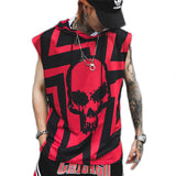 Men Tank Tops with Skull Print / Hooded Sleeveless Male Vest / Rock Style alternative clothing - HARD'N'HEAVY