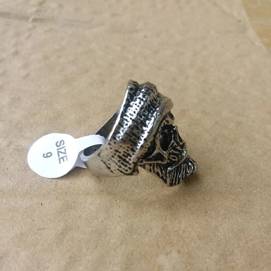 Men's Bearded Skull Ring Wearing Hat / Uncle Styling Ring Pirate Modeling Male Ring / Cool Rings - HARD'N'HEAVY