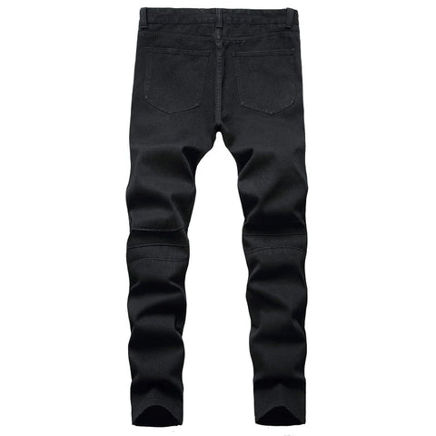 Men's Biker Jeans / Black and White Pleated Denim Pants / Slim Straight Classic Trousers - HARD'N'HEAVY