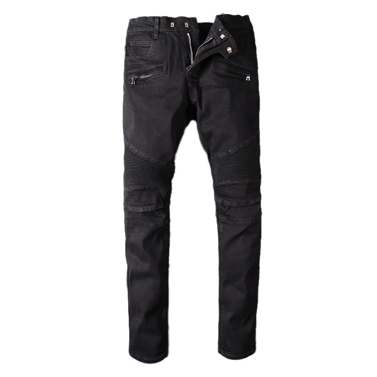 Men's Black Biker Rock Style Jeans / Stretch Denim Goth Pants / Rave Outfits - HARD'N'HEAVY