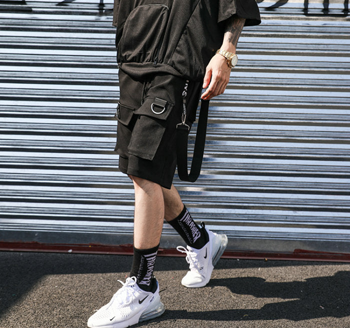 Men's Black Punk Shorts with Ribbons & Pockets / Streetwear Casual Knee Length Pants / Edgy clothing - HARD'N'HEAVY