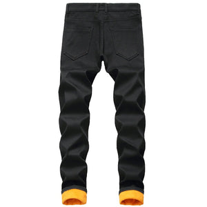 Men's Fleece Jeans for Winter / Thickened Warm Denim Pants / Slim Straight Long Trousers