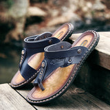 Men's Leather Sandals / Summer Soft Leisure Shoes / Alternative Fashion - HARD'N'HEAVY