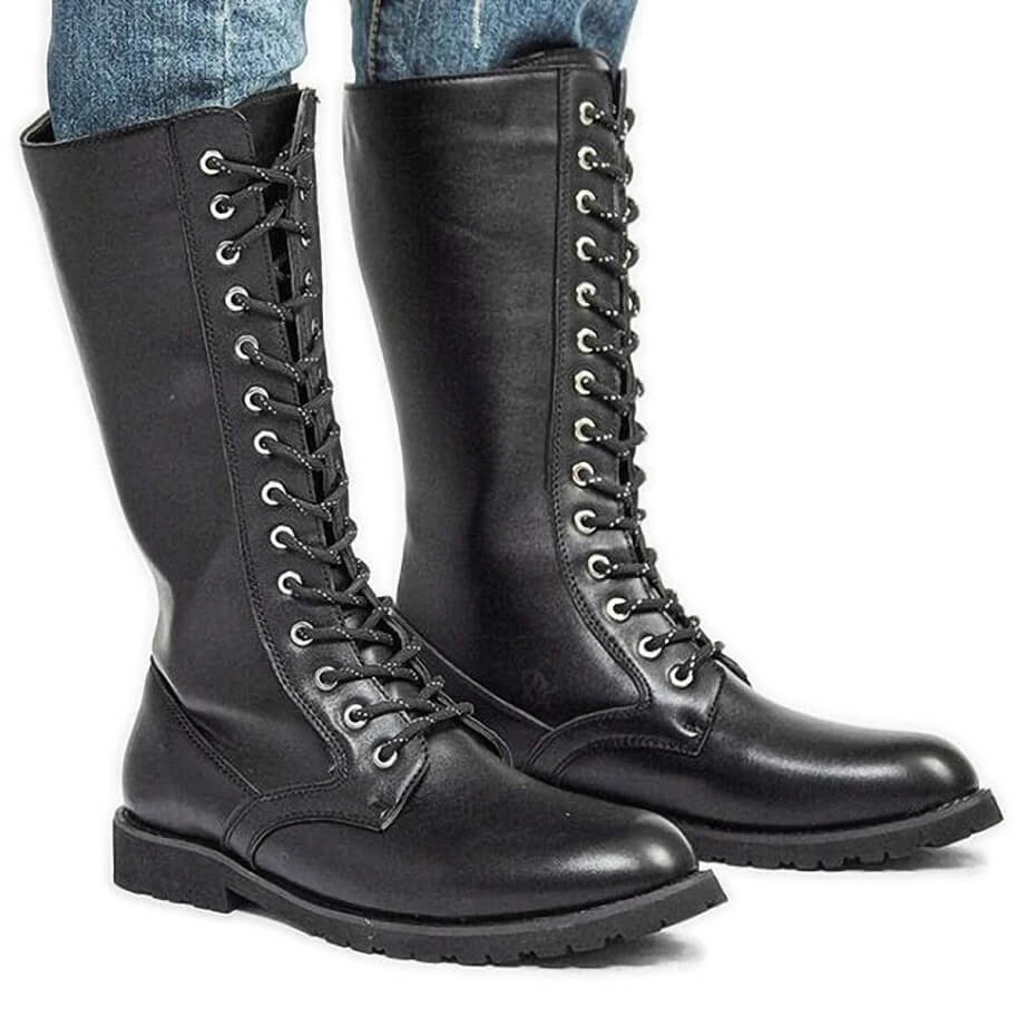 Men's Motorcycle Boots / Mid-calf Military Combat Boots / Rocker Shoes - HARD'N'HEAVY