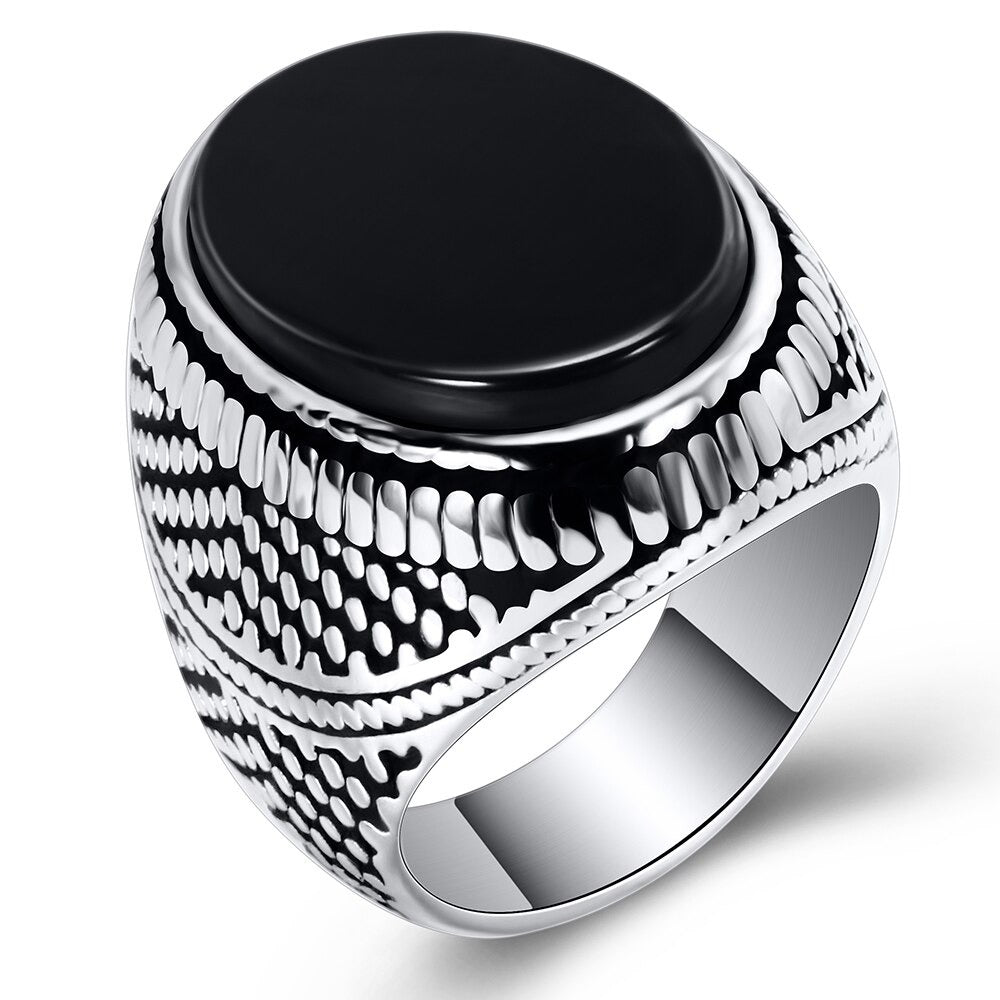Men's Ring With Black Stone / 316L Stainless Steel Jewelry / Vintage Silver Plated Ring - HARD'N'HEAVY